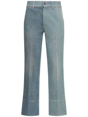 24.5cm Patchwork Cotton Denim Jeans