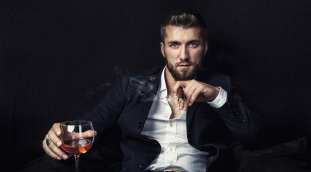 Attractive Man Smoking Cigar Glass Wine
