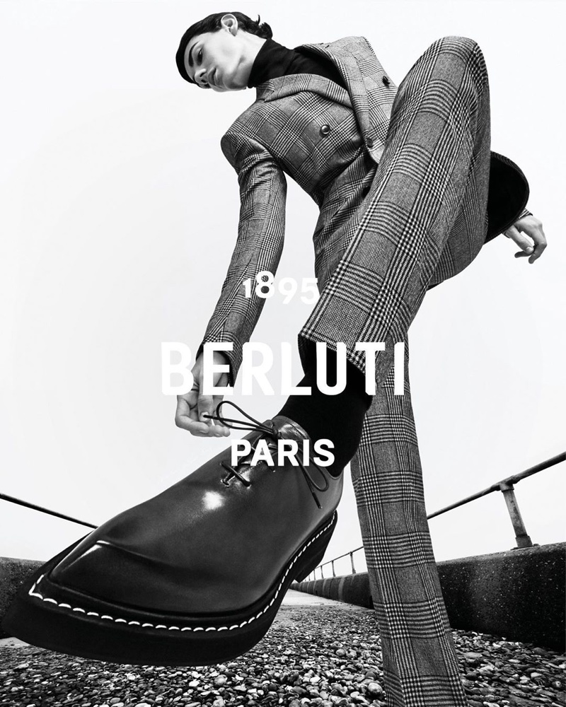 Appearing in a black and white image, Tobias Dionisi fronts Berluti's fall-winter 2020 campaign.