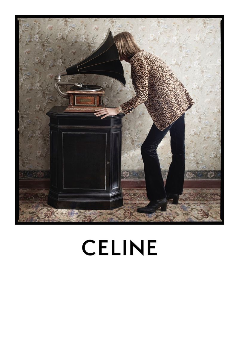 Donning a leopard print jacket, Dylan Delval stars in Celine's fall-winter 2020 men's campaign.