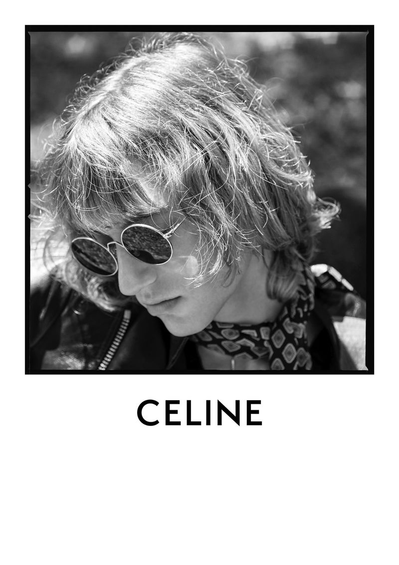 Sporting round sunglasses, Dylan Delval stars in Celine's fall-winter 2020 men's campaign.