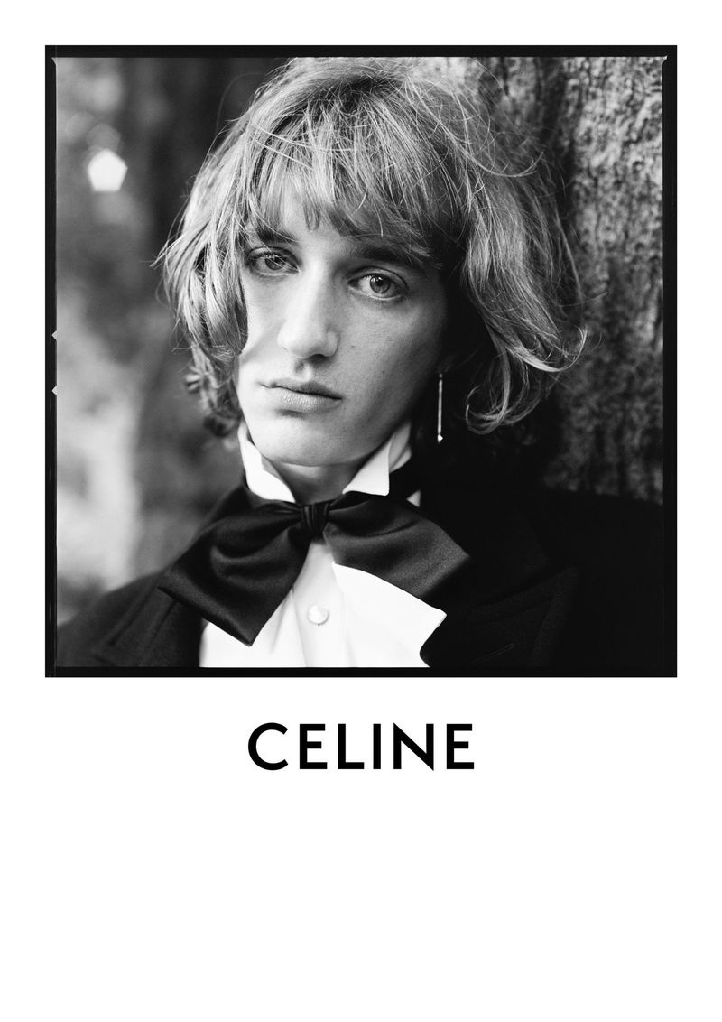 A dandy vision, Dylan Delval fronts Celine's fall-winter 2020 men's campaign.