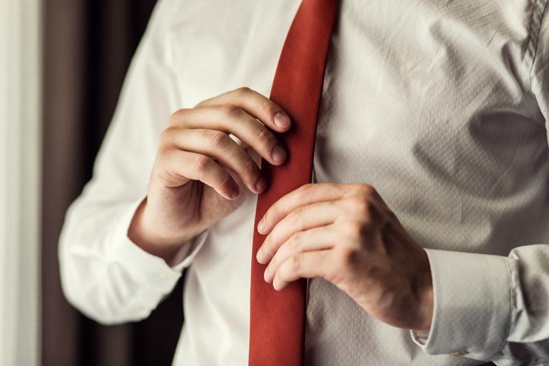 Closeup Man Red Tie