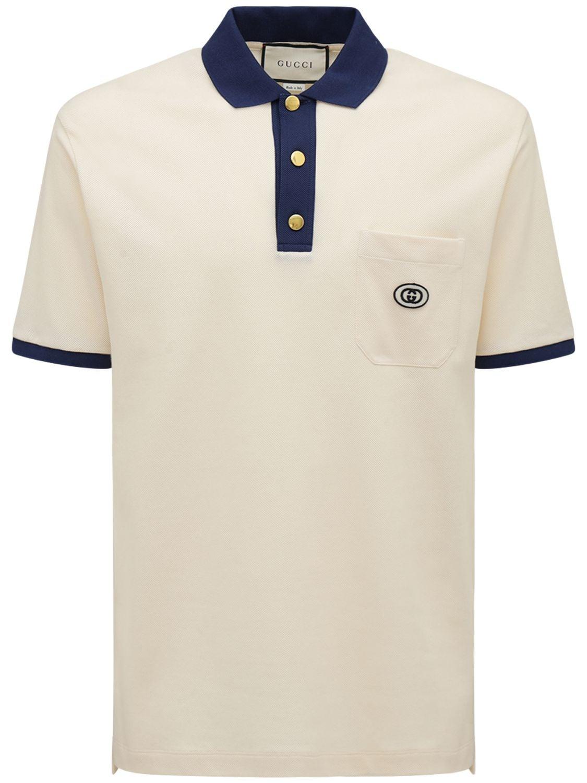 Cotton Polo Shirt W/ Gg Patch