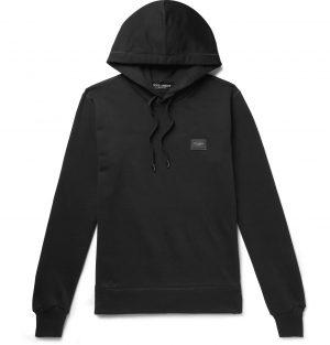 Dolce & Gabbana - Logo-Appliquéd Loopback Cotton-Jersey Hoodie - Men - Black