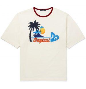 Dolce & Gabbana - Printed Cotton-Jersey T-Shirt - Men - Neutrals