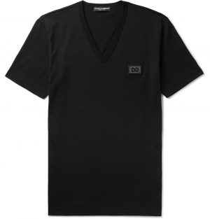 Dolce & Gabbana - Slim-Fit Logo-Appliquéd Cotton-Jersey T-Shirt - Men - Black