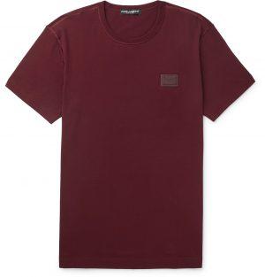 Dolce & Gabbana - Slim-Fit Logo-Appliquéd Cotton-Jersey T-Shirt - Men - Burgundy