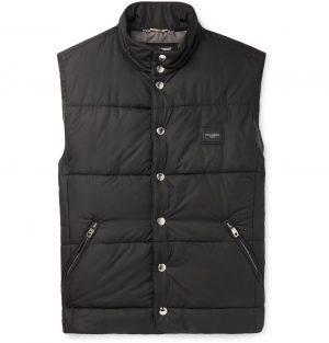 Dolce & Gabbana - Slim-Fit Logo-Appliquéd Quilted Shell Gilet - Men - Black