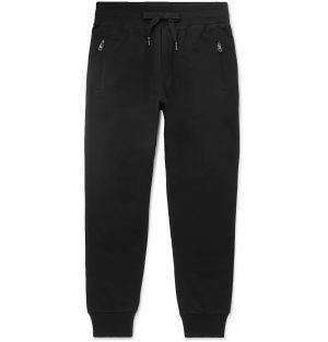 Dolce & Gabbana - Slim-Fit Tapered Logo-Appliquéd Cotton-Jersey Sweatpants - Men - Black