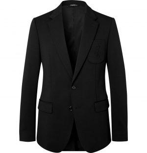 Dolce & Gabbana - Slim-Fit Unstructured Logo-Embroidered Wool-Blend Jersey Blazer - Men - Black
