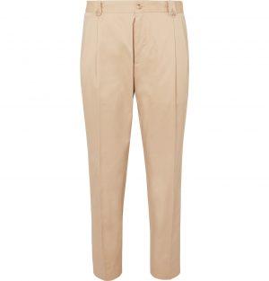 Dolce & Gabbana - Tapered Pleated Cotton-Blend Twill Chinos - Men - Neutrals
