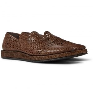 Dolce & Gabbana - Woven Leather Loafers - Men - Brown