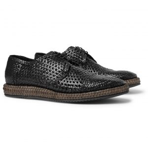 Dolce & Gabbana - Woven Leather and Straw Derby Shoes - Men - Black