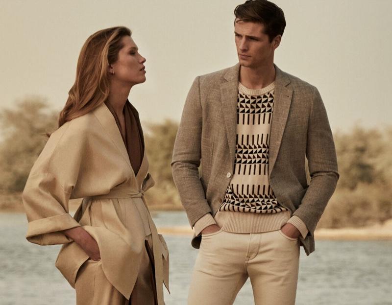 Models Hana Jirickova and Edward Wilding don safari-inspired style from Pedro del Hierro.
