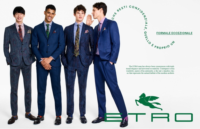 All smiles, Hang Yu, Jonas Barros, Tuur Sikkink, and Justin Eric Martin suit up for Etro.