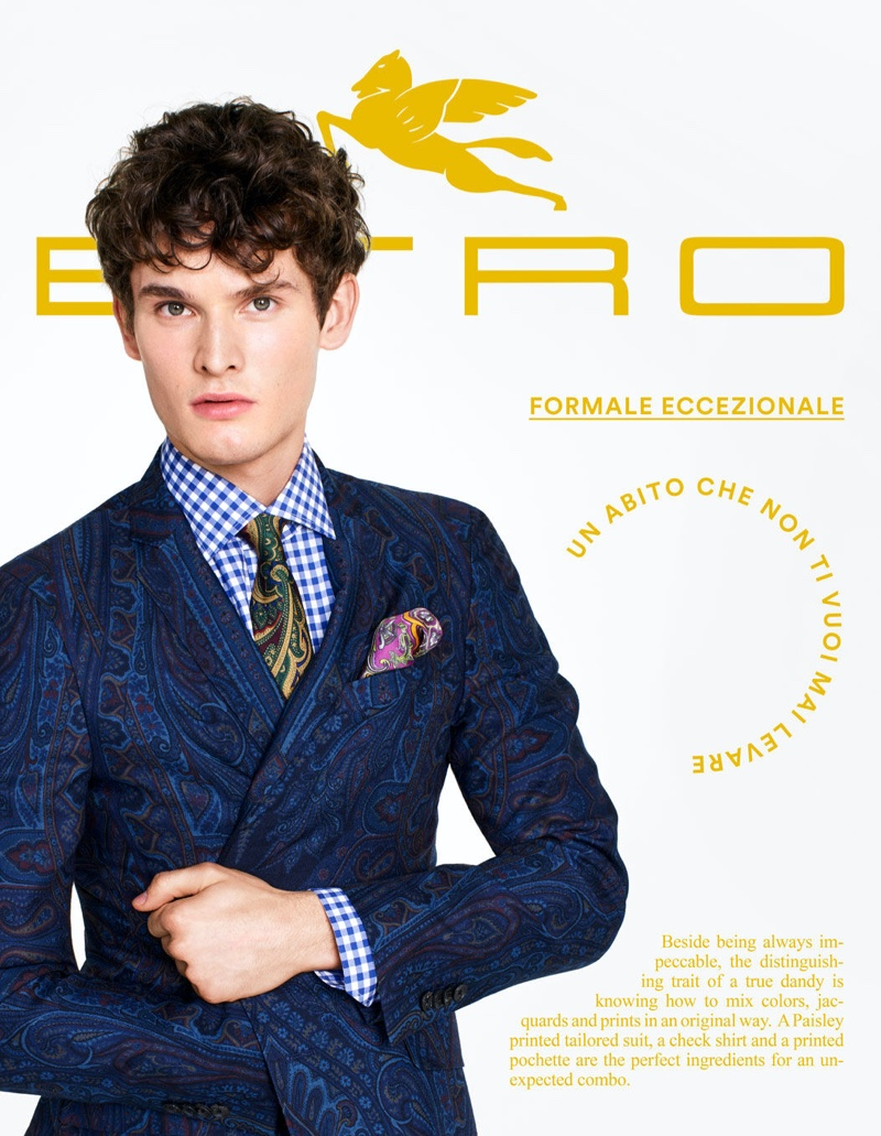 Tuur Sikkink dons a paisley suit for Etro's tailoring campaign.