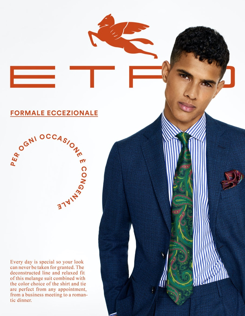 Jonas Barros dons a sharp suit for Etro's tailoring campaign.