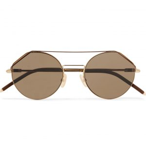 Fendi - Aviator-Style Gold-Tone and Matte-Acetate Sunglasses - Men - Brown