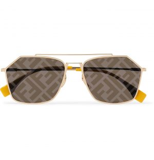 Fendi - Aviator-Style Logo-Print Gold-Tone and Acetate Sunglasses - Men - Gold