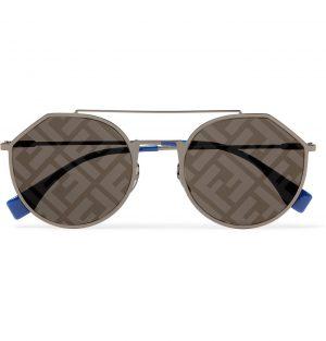 Fendi - Aviator-Style Logo-Print Silver-Tone and Acetate Sunglasses - Men - Silver