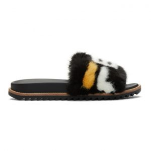 Fendi Black Fendi Mania Fur Slides