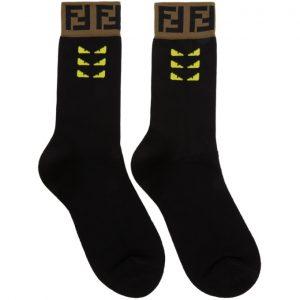 Fendi Black Forever Fendi Bag Bugs Tape Socks