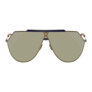 Fendi Blue and Gunmetal Shield Sunglasses