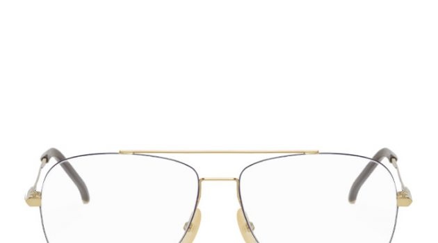 Fendi Gold and Brown Aviator Glasses