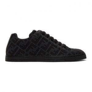 Fendi Grey and Black Forever Fendi Sneakers