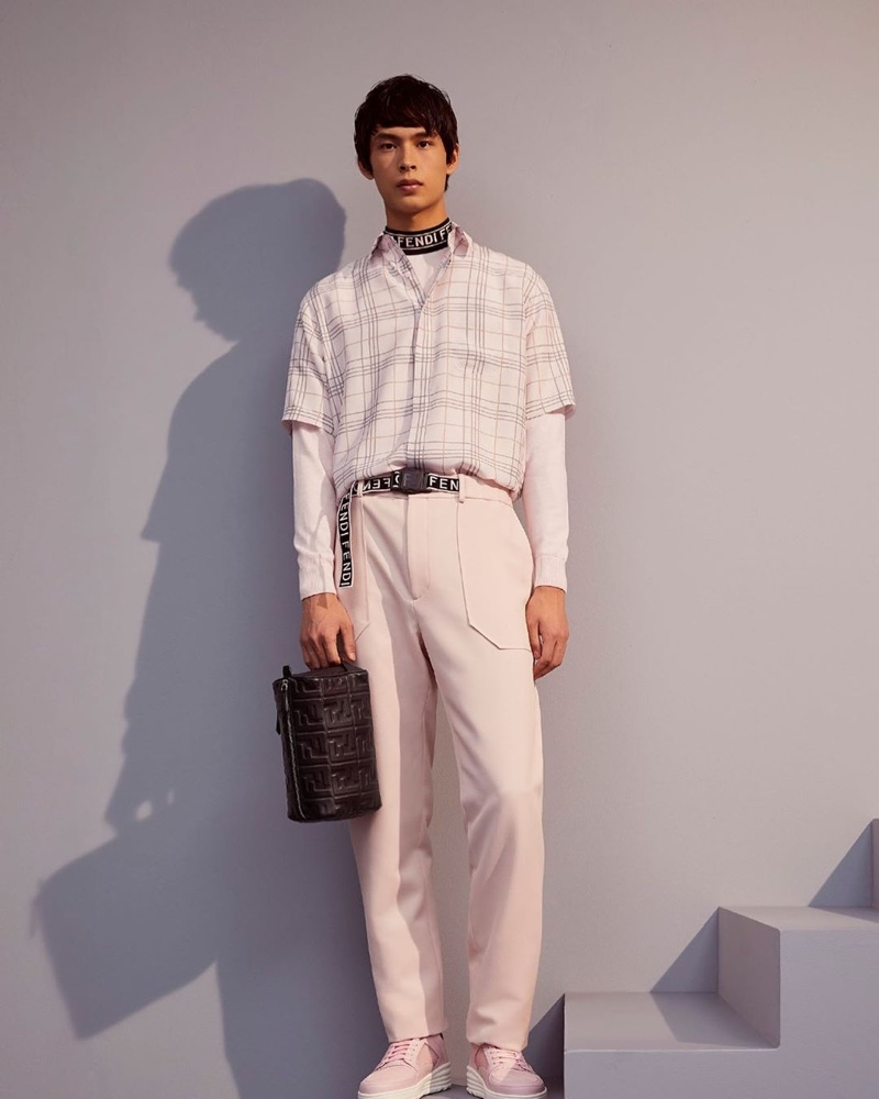 Hitting the studio, Yang Hao models a soft tailored look from Fendi's pre-fall 2020 collection.