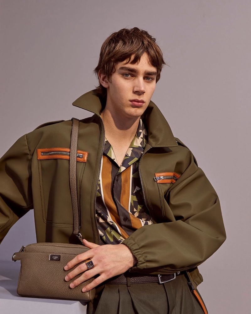 Front and center, Mitchell Gorthy models a voluminous look from Fendi's pre-fall 2020 collection.