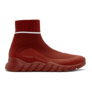Fendi Red Tech Knit Forever Fendi High-Top Sneakers