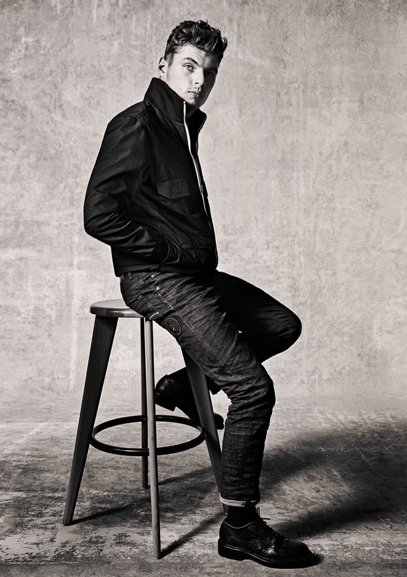 Sitting for a portrait, Max Verstappen wears a look from his Max Raw collection for G-Star Raw.