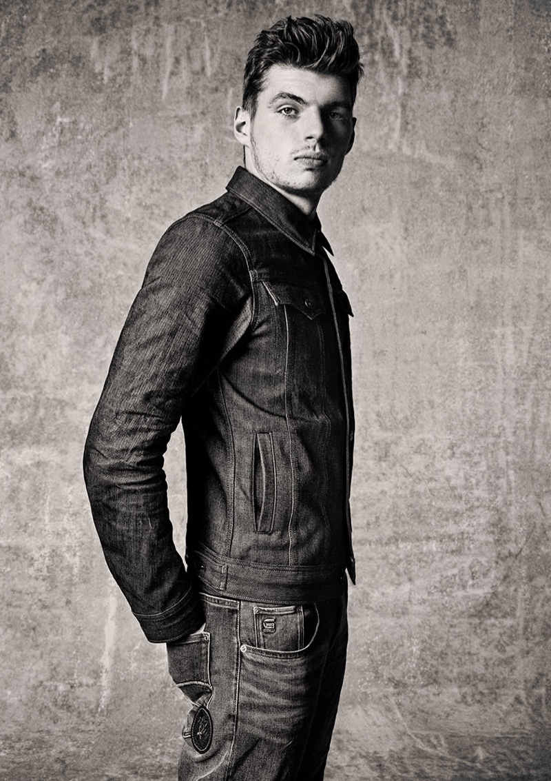 Doubling down on denim, Max Verstappen rocks essentials from his G-Star Raw Max Raw collection.