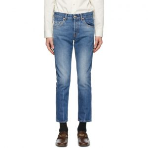Gucci Blue Denim Marble Washed Jeans