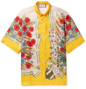 Gucci - Button-Down Collar Embroidered and Printed Silk-Satin Shirt - Men - Yellow