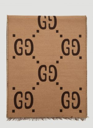 Gucci GG Logo Jacquard Scarf in Brown size One Size