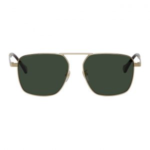Gucci Gold Square Aviator Sunglasses