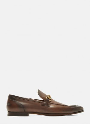 Gucci Jordaan Leather Loafers in Brown size UK - 10