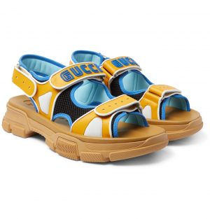 Gucci - Leather and Mesh Sandals - Men - Yellow