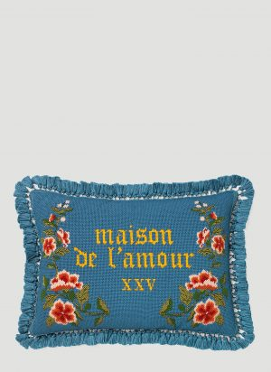 Gucci Maison De L'Amour Needlepoint Cushion in Blue size One Size