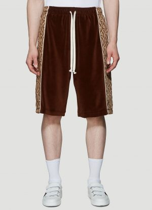 Gucci Rhombus Logo-Jacquard Velour Shorts in Brown size M