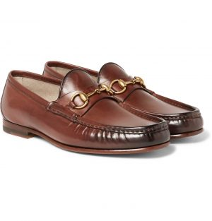Gucci - Roos Horsebit Burnished-Leather Loafers - Men - Brown