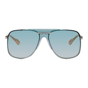 Gucci Silver and Blue Bold Bridge Sunglasses