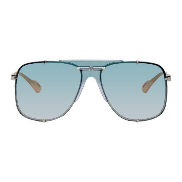 Gucci Silver and Blue Bold Bridge Sunglasses