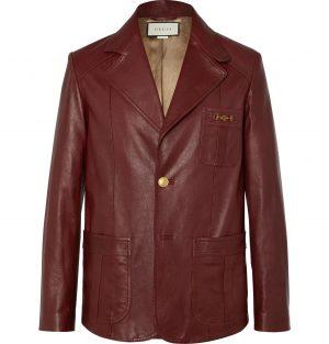 Gucci - Slim-Fit Horsebit Leather Blazer - Men - Burgundy