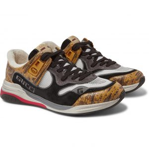 Gucci - Ultrapace Distressed Suede, Mesh and Snake-Effect Leather Sneakers - Men - Yellow