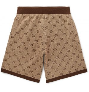 Gucci - Wide-Leg Logo-Jacquard Wool and Cotton-Blend Shorts - Men - Brown