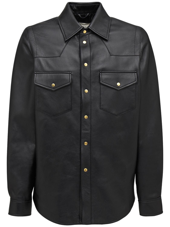 Logo Embossed Leather Jacket